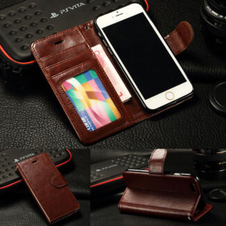 Brown Luxury Leather Wallet Credit Card Photo Case For iPhone  6 Kingsley Joondalup Area Preview