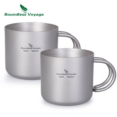 Titanium Double-wall Cup with Handle for Wine Coffee Tea Picnic Daily Mug 100ml ()