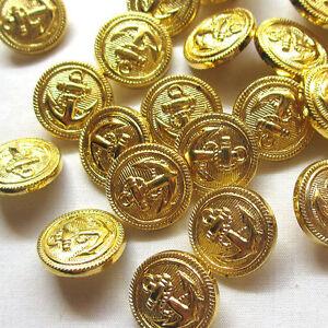 5 Marine Knöpfe mit Anker aus Acryl.Farbe Gold ca.15 mm Rund.Leicht.NEU.