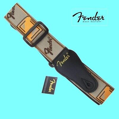 "Genuine Fender ® 2"" Monogrammed  Gray / Brown / Orange Guitar Strap 099-0683-000"