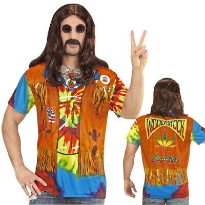 70er Jahre Polyester Shirt (HIPPIE 3D SHIRT HERREN Hemd Top Flower Power Kostüm 60er 70er Jahre Party 9868)