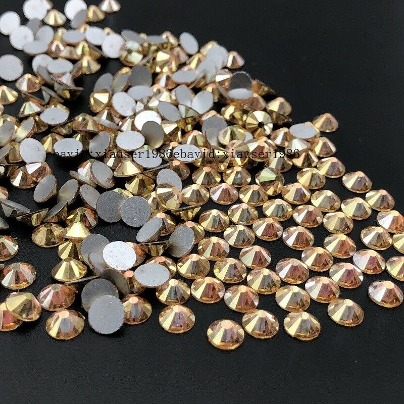 288 720 1440 Pcs Crystal Bright Gold Nail Art Rhinestones Flatback Strass Stones