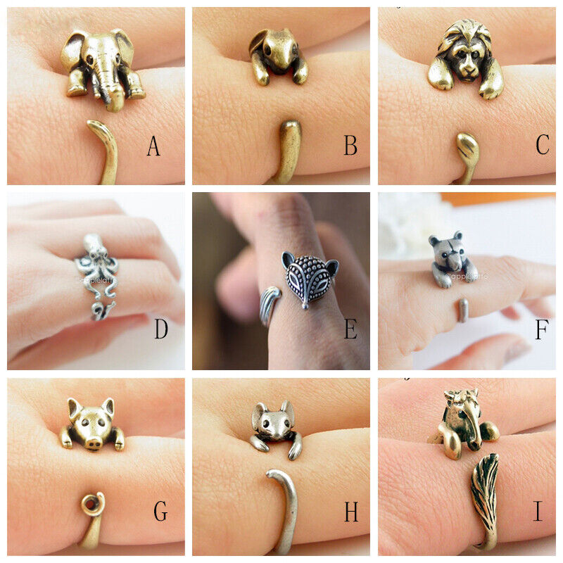 Vintage Animal Pig Fox Lion Adjustable Wrap Rings for Women