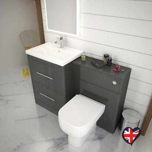 Détails sur Salle de Bain Vestiaire 1200 mm patello Vanity Sink Unit gris  avec toilettes et robinet- afficher le titre d\'origine