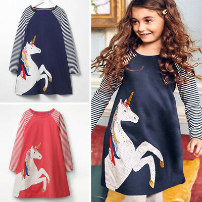 Xmas Unicorn Toddler Kids Baby Girl Striped Long Sleeve Dress Casual Clothes USA - Dress Kids Girl