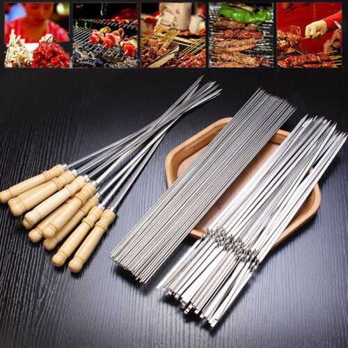 12x Stainless Steel Barbecue BBQ Skewers Needle Camping Kabob Stick Tools Set US