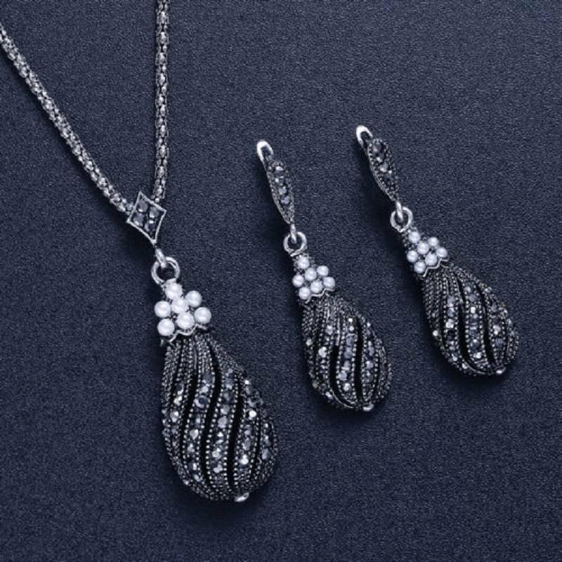Vintage Silver Pearl Earrings Women Jewelry