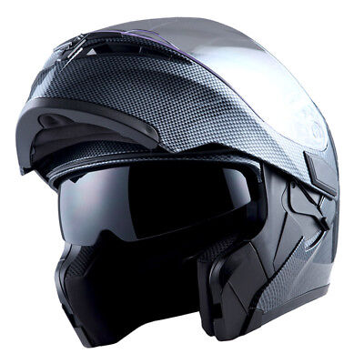 1Storm Motorcycle Modular Flip up Full Face Helmet Dual Visor Carbon Fiber Black