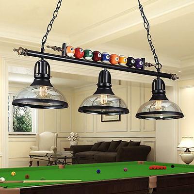 Billiards Ball Table Light (3 Light Metal Ball Design Pool Table Light Billiard Pendant Lamp Ceiling)