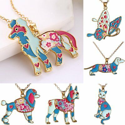 Dog Butterfly Costume (Colorful Printing Butterfly Dog Cat Animal Pendant Necklace Women Costum)