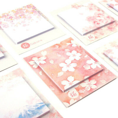 30page Pack Romantic Pink Princess Sakura Memo Pads Sticky Notes Paper Sticker