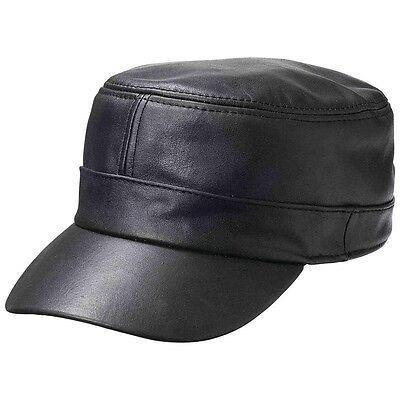 BLACK Genuine Leather CADET CAP Adjustable Biker Motorcycle Ball Flat Castro Hat