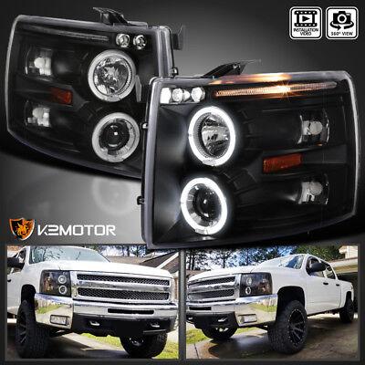 2007-2014 Chevy Silverado 1500/2500/3500 Halo LED Projector Headlights Black