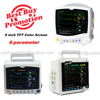 8 Tft Color Lcd Multi-parameter Icu Vital Signs Patient Monitor 6-parameter