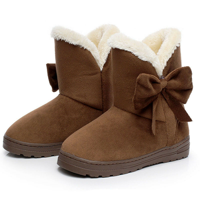 Women's Winter Warm Suede Ankle Snow Boots Fur Thicken Ski Flats Casual Shoes 9