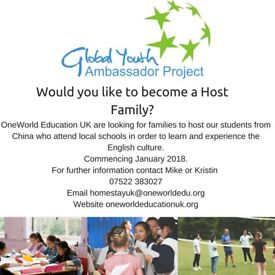 OneWorld Education UK are looking for new host families to host our students from China.