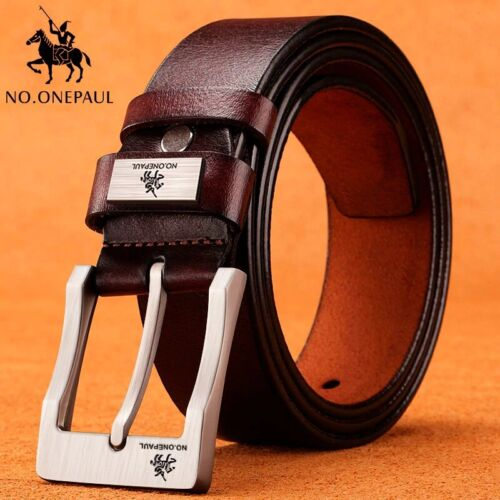 Top Quality Men's Real Genuine Cowhide Leather Belts  Black Brown Jeans Buckle