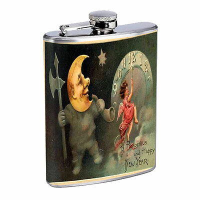 Vintage New Years Eve D3 Flask 8oz Stainless Steel Hip Drinking Whiskey  - New Years Eve Drinks
