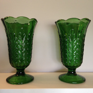E. O. Brodey Co. Pair Vintage Pressed Glass Green Vases M5200