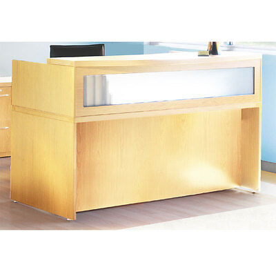 Maple Finish Reception Desk With Textured Glass