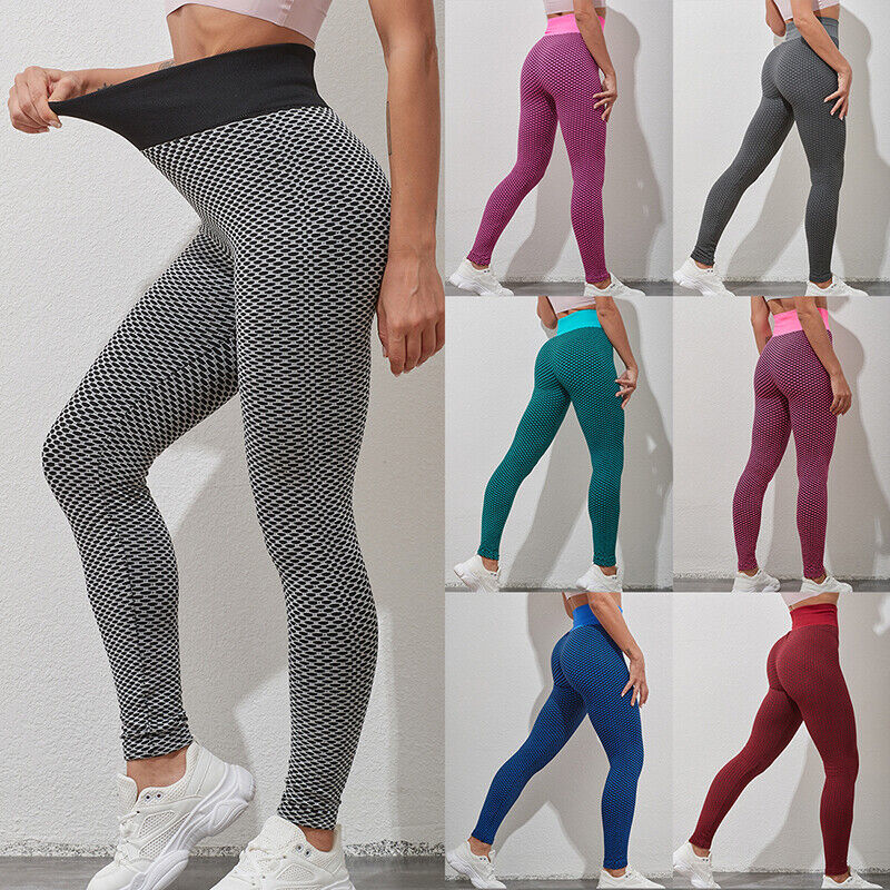 Womens Anti-Cellulite High Waist Yoga Pants Gym Sports Leggings Elastic Trousers