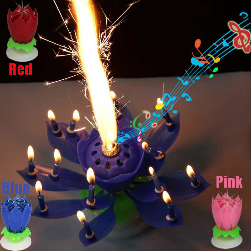Details About Party Music Happy Birthday Candle Rotating Lights Lotus Flower Romantic Amazing