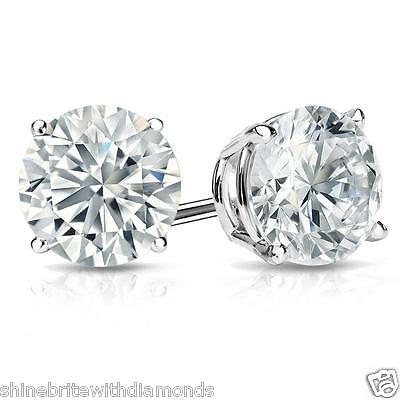 18k Brilliant Cut Stud - 4 Ct Round Earrings Studs Solid 18K White Gold Brilliant Cut Screw Back Basket