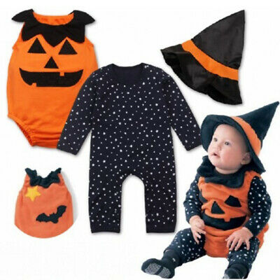 Pumpkin Costume For Toddler Boy (Baby Toddler Boy Girl Pumpkin Halloween Costume Fancy Dress Party Outfits)