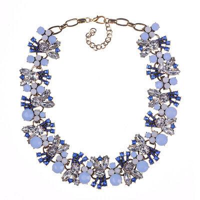 Light Blue Gem (light blue gem vintage gold tone women fashion Necklace. SHIP FROM NYC US)