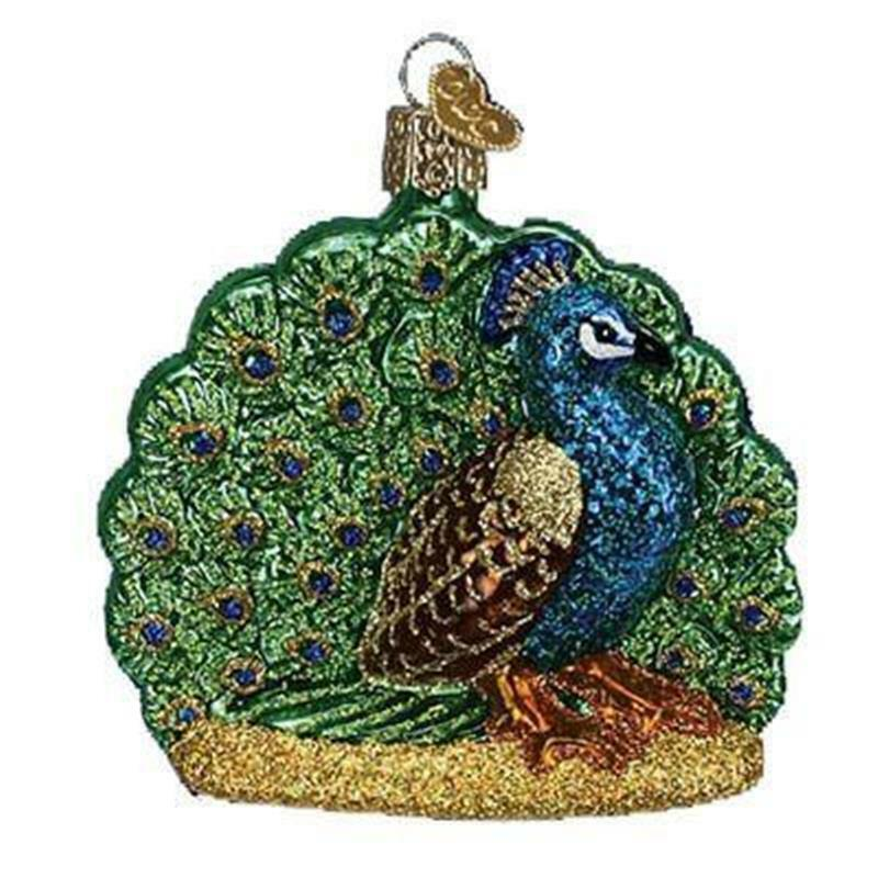 PROUD PEACOCK ART DECO STYLE OLD WORLD CHRISTMAS GLASS BIRD ORNAMENT NWT 16074