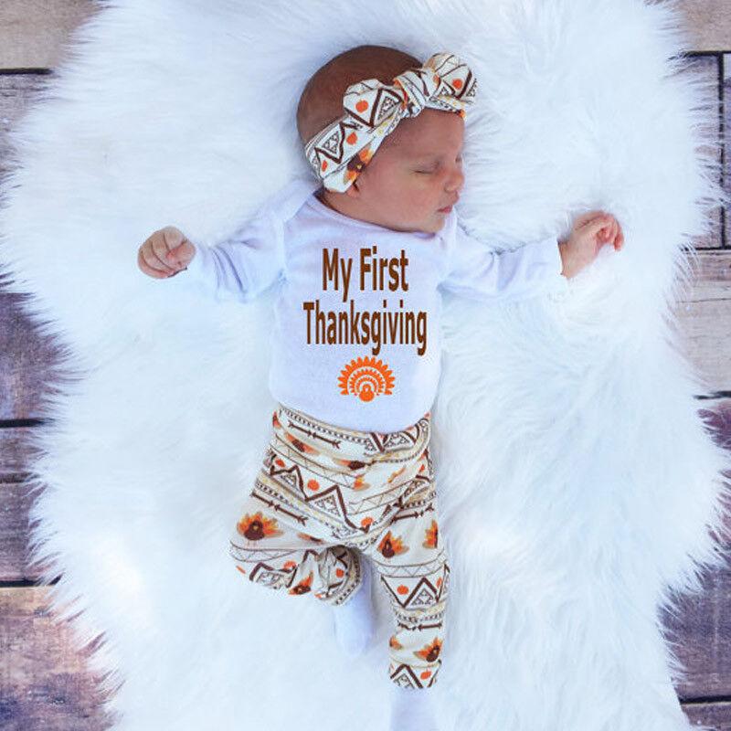 Newborn Infant Baby Boy Girl T-shirt Tops+Pants+Hat Outfit Clothes Set Bodysuits