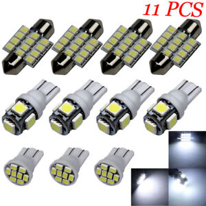 11PCS White LED Lights Interior Package T10 & 31mm Map Dome Car