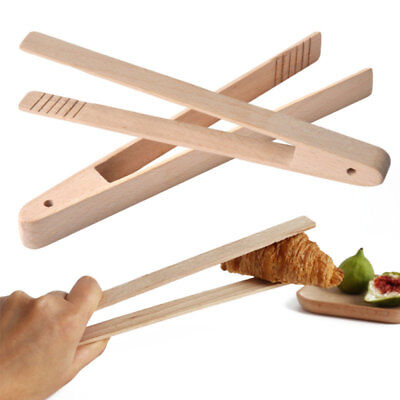 Bamboo Wood Dull Food Toast Tongs Toaster Bacon Sugar Ice Tea Tong Salad