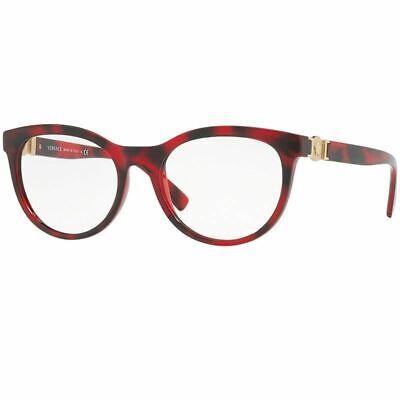 Versace Women Eyeglasses Havana/Red w/Demo Customisable Lens VE3247-5258-53