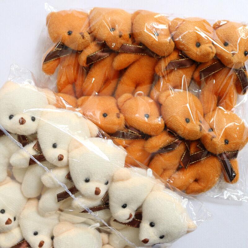 10Pcs/Lot Bear Plush Toys Mini Teddy Bear Dolls for Party Wedding With Bow-knot