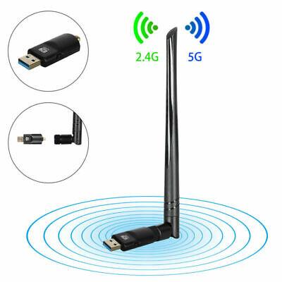 2.4G/5.8G Clé Dongle Adaptateur Wifi 1200Mbps Carte Réseau USB 3.0 Windows Mac