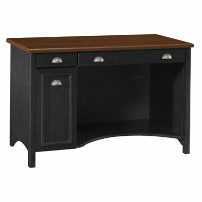 Bush Furniture Stanford Computer Desk with Drawers in Antique Black Contemporary Traditional Desk
