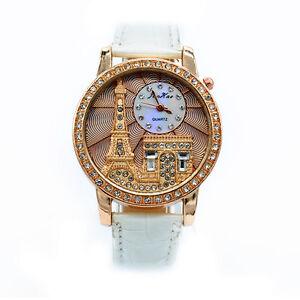 DAMEN UHR PARIS EIFFELTURM QUARZ WEISS STRASS KRISTALL GOLD WOW NEU 802