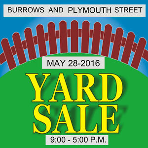 YARD SALE - BURROWS AND PLYMOUTH ST.-MAY 28-2016