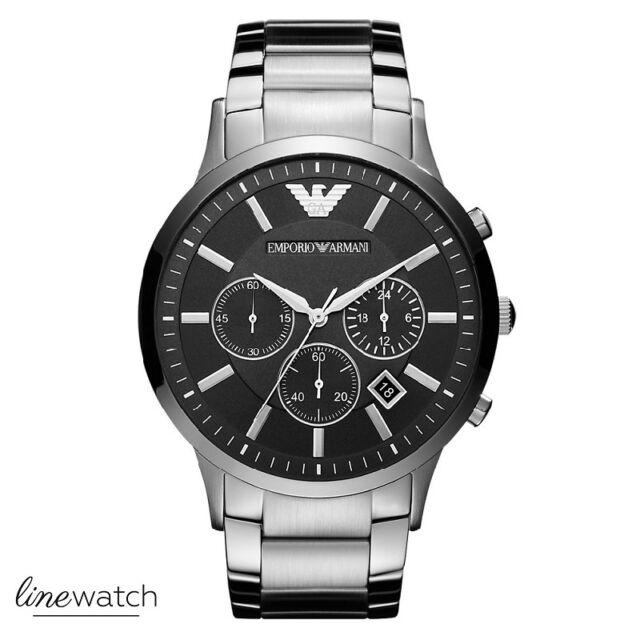 Emporio Armani AR2460 Sportivo Herrenuhr Chronograph Uhr Silberfarben NEU OVP