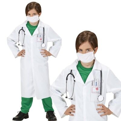 DOKTOR Kinder Kostüm Arzt Ärztin Kittel weiß mit Mundschutz 2-tlg. Anzug