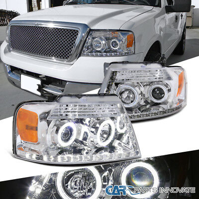 04-08 Ford F150 Pickup Clear Halo LED Strip Projector Headlights Head Lamps Pair