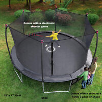 New 17'x15' Oval Industrial Grade Trampoline and Enclosure