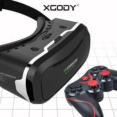 VR Shinecon 2.0 Virtual Reality Headset 3D Galsses With Game Controller US Stock
