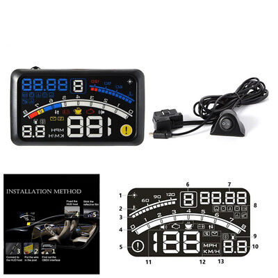 "5.5"" HUD Head-Up Car Dashboard Projector Speed Shift Gear Warning Speedometers"