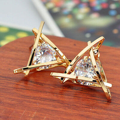 (New Fashion Women Lady Triangle Crystal Rhinestone Ear Stud Silver Gold Earrings)
