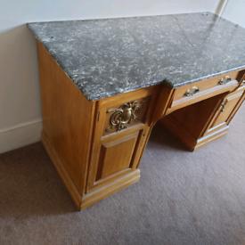 Marble top desk.