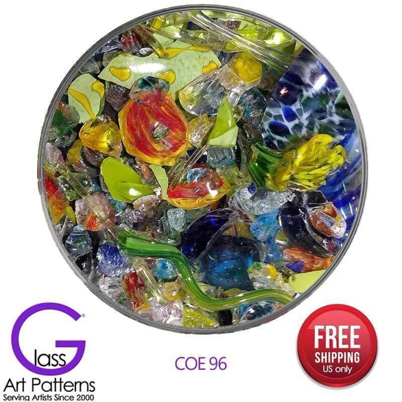 Blown Glass Scraps Colorful Shapes Chips COE 96 Casting Pot Melts 2 Lb Increment