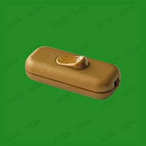 Gold 3 Core In line Lighting Lamp Rocker On Off Switch, 110 to 250V, 2A,