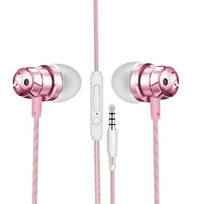 iPhone Samsung Sony HTC Extra Bass Metal Rose Gold In-Ear Earphones Headphone UK
